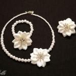 Fehér virág esküvői ékszerszett - Rendelhető!