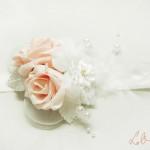Rózsaszín - fehér csuklódísz