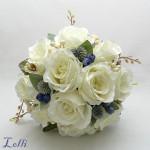 Ekrü rózsa menyasszonyi csokor selyemvirágból